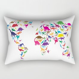 Dinosaur Map of the World Map Rectangular Pillow