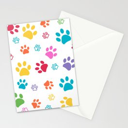 Colorful paw pattern background Stationery Cards