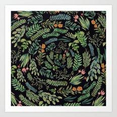 circular garden at nigth Art Print
