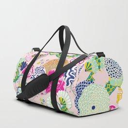Chinoiserie Decorative Floral Motif Pale Mint on Pastel Pink Duffle Bag