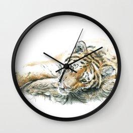 Siberian Tiger Lying Down Wall Clock