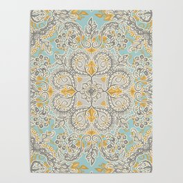 Gypsy Floral in Soft Neutrals, Grey & Yellow on Sage Poster