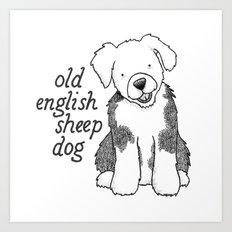 Dog Breeds: Old English Sheep Dog Art Print