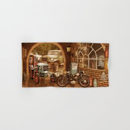 Nostalgic garage with tractor and motorcycle Hand & Bath Towel