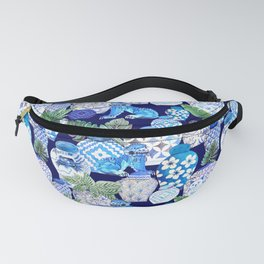 Chinoiserie Blue and white Chinese Ginger Jars and Foo dogs with palm and calathea Fanny Pack