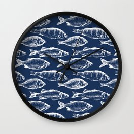 Fish // Navy Blue Wall Clock