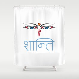 Shanti - buddha eyes Shower Curtain
