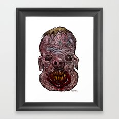 Heads of the Living Dead  Zombies: Swine Fusion Zombie Framed Art Print