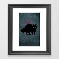 Cat and bird friends! Framed Art Print