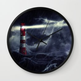 Stormy Sea and Lighthouse Wall Clock