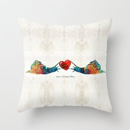 Snail Art - Love Grows Here - By Sharon Cummings Throw Pillow