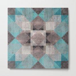 Aqua & Brown Quilt Metal Print