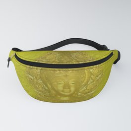 Golden beautiful golden Buddha head in delicate yellow Fanny Pack