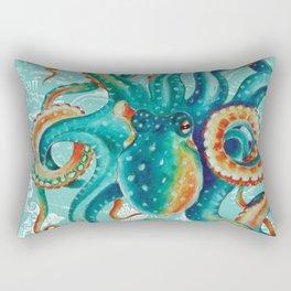 Teal Octopus On Light Teal Vintage Map Rectangular Pillow