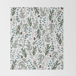 Pine and Eucalyptus Greenery Throw Blanket