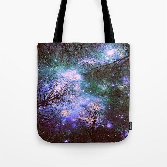Black Trees Purple Green Space Tote Bag