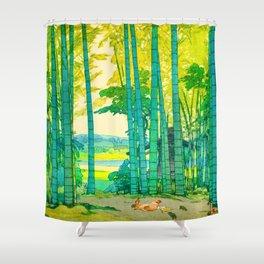 Yoshida Hiroshi Bamboo Grove Vintage Japanese Woodblock Print Bright Green Bamboo Landscape Forest Shower Curtain