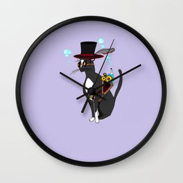 A Steampunk Cat with Lavender Background Wall Clock