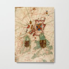 Vintage Map of The British Isles (1600) Metal Print