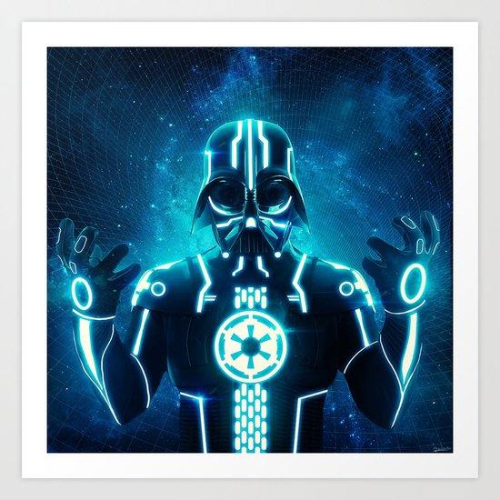 Tron Vader Blue Art Print
