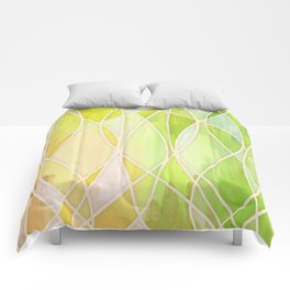 Lemon & Lime Love - abstract painting in yellow & green Comforters