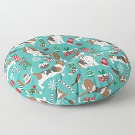 Basset Hound christmas pattern print pet friendly dog breed art for holiday decor Floor Pillow