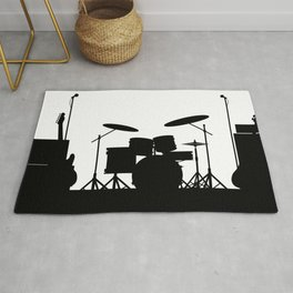 Rock Band Equipment Silhouette Rug