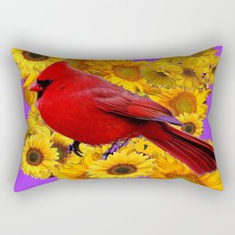 RED CARDINAL & YELLOW SUNFLOWERS PANTENE PURPLE Rectangular Pillow