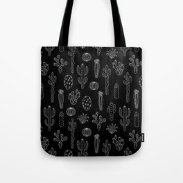 Cactus Silhouette White And Black Tote Bag