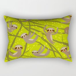 pattern funny and cute smiling Three-toed sloth on green branch tree creeper Rectangular Pillow