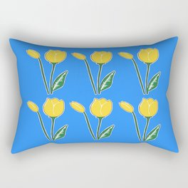 Yellow Tulips with Blue Pattern Rectangular Pillow