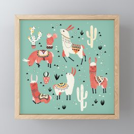 Llamas and cactus in a pot on green Framed Mini Art Print