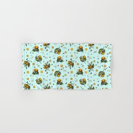 Oranges and Butterflies on Mint Hand & Bath Towel