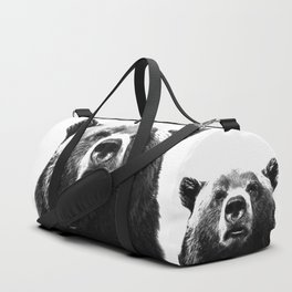Black and white bear portrait Duffle Bag