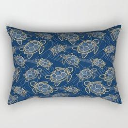Japanese Pond Turtle / Dark Blue Rectangular Pillow