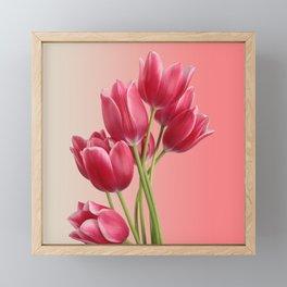 Beautiful Pink Tulips & Soft Background Framed Mini Art Print