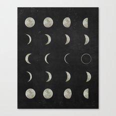 Moon Phases, Black White Decor, Bohemian, Magic, Lunar Cycle Canvas Print