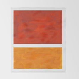 Burnt Orange Yellow Ochre Mid Century Modern Abstract Minimalist Rothko Color Field Squares Throw Blanket