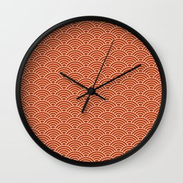 Orange Fish Scales Wall Clock