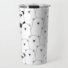 Polar bear and panda cartoon Travel Mug