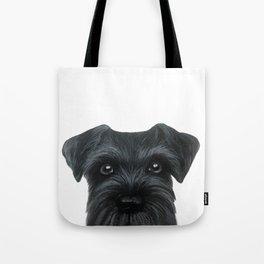 Black Schnauzer, Dog illustration original painting print Tote Bag