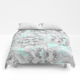 Vintage black white teal stylish chic roses floral Comforters