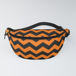 Large Dark Pumpkin Orange and Black Halloween Chevron Stripes Fanny Pack