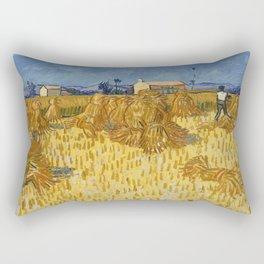 Vincent Van Gogh  - Corn Harvest in Provence Rectangular Pillow