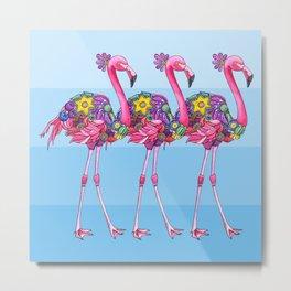 A Small Flamboyance of Flamingos Metal Print