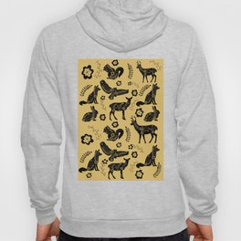 Folk Art Forest Animals, Mustard Hoody