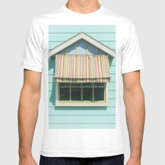 Summer cottage stripped canvas awning MEDIUM White Mens Fitted Tee