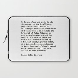 To Laugh Often And Much, Success, Ralph Waldo Emerson Quote. Laptop Sleeve