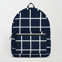GRID DESIGN (WHITE-NAVY BLUE) Backpack
