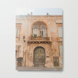 Old Building | Pastel color building | Sunshine over old fashioned building | Lemon & Peach Metal Print